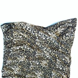 bebe Tops - Bebe Leopard Strapless Pleated Tube Top S